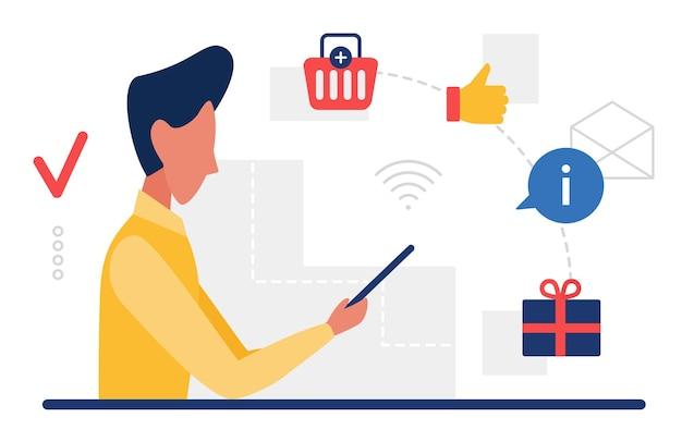 Les gens consomment achètent des biens en ligne utilisateur consommateur homme tenant un smartphone pour faire du shopping