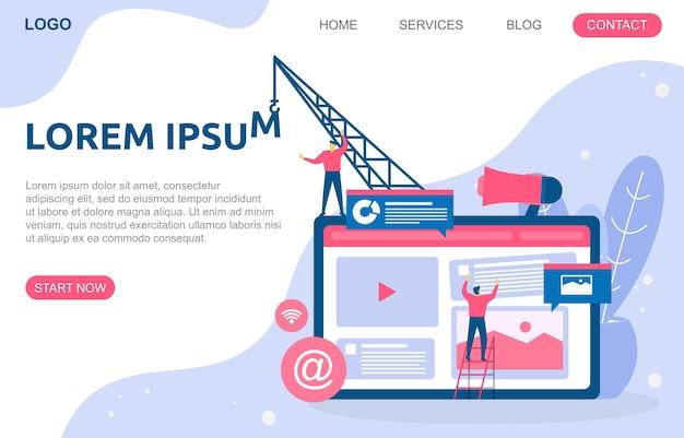 Les gens construisent la conception de site web illustration de développement de projet de page web