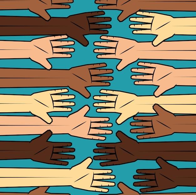 Gens de couleur et mains de peuples caucasiens