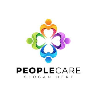 Les gens de couleur moderne se soucient ou la création de logo de travail d'équipe d'affaires humaines