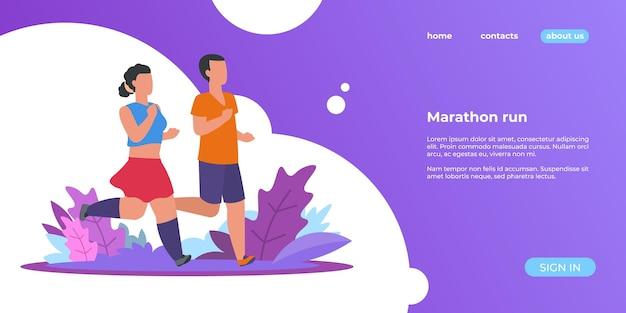 Les gens courent à l'atterrissage. femme sportive et homme courant en plein air, page web d'activités saines de nature estivale. illustrations vectorielles marathoniens dans la bannière du parc
