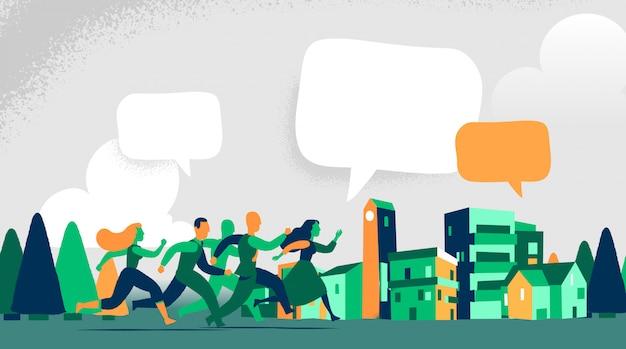 Les gens courent dans un réseau de médias sociaux