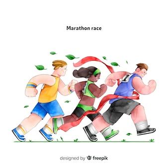 Les gens sur une course de marathon
