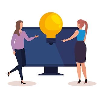 Gens créatifs de femmes avec ordinateur et ampoule, illustration de thème idée et imagination