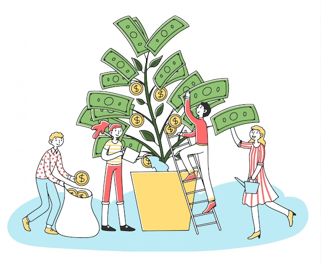 Gens, croissant, argent, arbre, illustration
