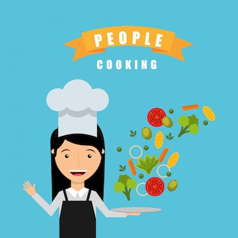 Gens cuisinant la conception