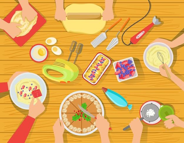 Gens, cuisine, doux, pâtisserie, ensemble, vue, dessus