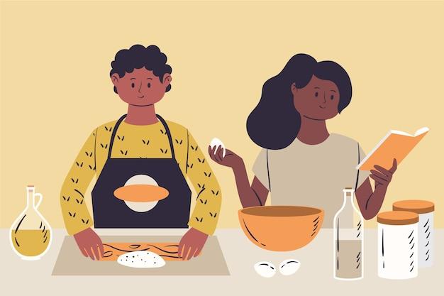 Gens, cuisine, illustration