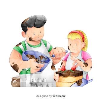 Les gens cuisinent à la cuisine