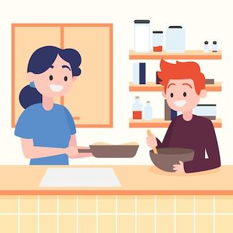 Les gens cuisinent ensemble à la maison