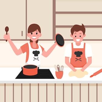 Les gens cuisinent ensemble