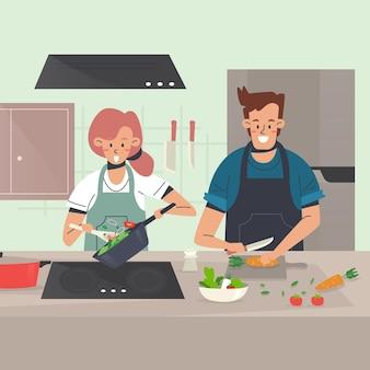 Les gens cuisinent à la maison