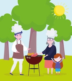 Les gens cuisinent un pique-nique à l'extérieur. style de bande dessinée