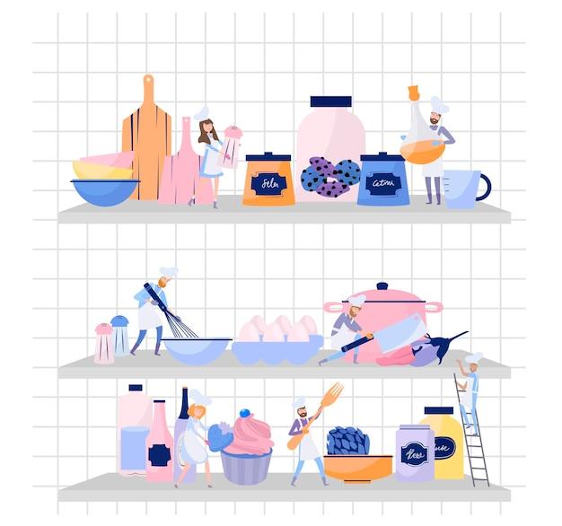 Les gens cuisinent en uniforme de chef et casquette. travail d'équipe, les petits personnages cuisinent sur l'immense étagère avec vaisselle, casseroles, nourriture et épices. processus de préparation des aliments.