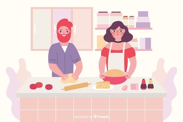 Les gens cuisinent