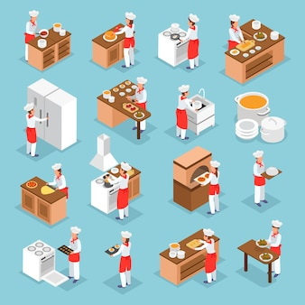 Gens cuisiner des plats italiens et des éléments intérieurs de cuisine icônes isométriques ensemble isolé sur fond bleu illustration 3d