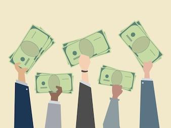 Gens d'affaires maintenant illustration de l'argent
