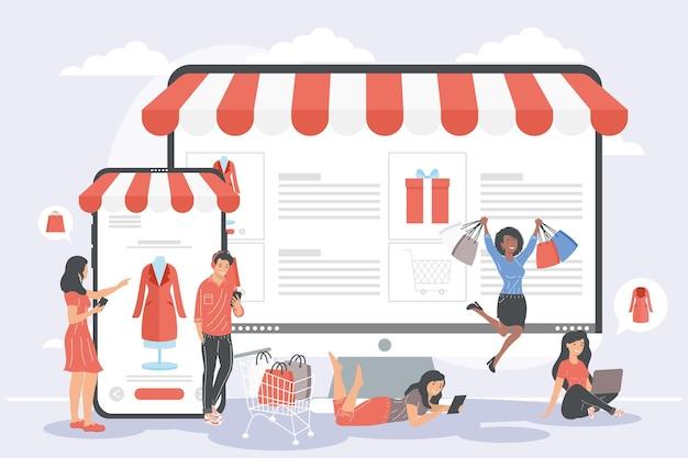 Les gens dans les achats en ligne