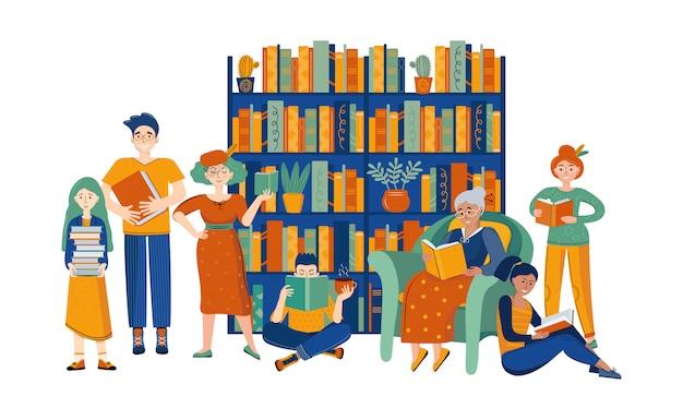 Gens dans la bibliothèque lisant des livres.
