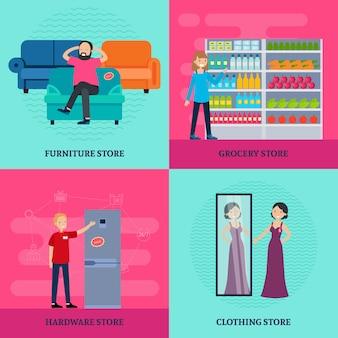 Gens dans la boutique square concept
