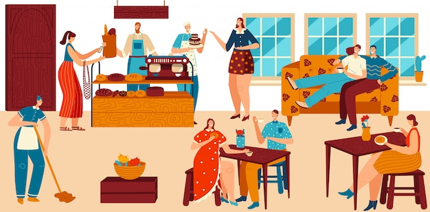 Gens dans un café confortable, boulangerie avec du pain frais et du café, service de pâtisserie, illustration