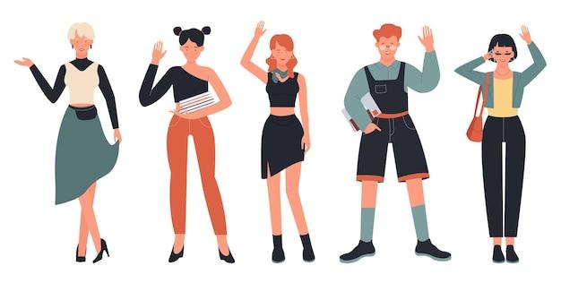Gens dans la communication de voeux pose ensemble, femme, fille étudiante et garçon agitant bonjour