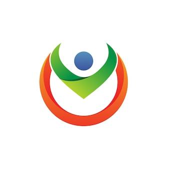 Les gens dans la conception de logo de cercle