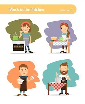 Gens dans la cuisine