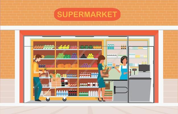 Gens dans l'épicerie de supermarché