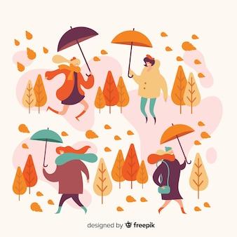 Gens dans l'illustration du parc en automne