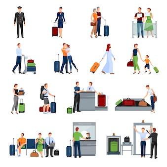 Les gens dans le jeu d'icônes de couleur plat aéroport