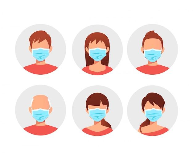 Les gens dans les masques médicaux bleus.
