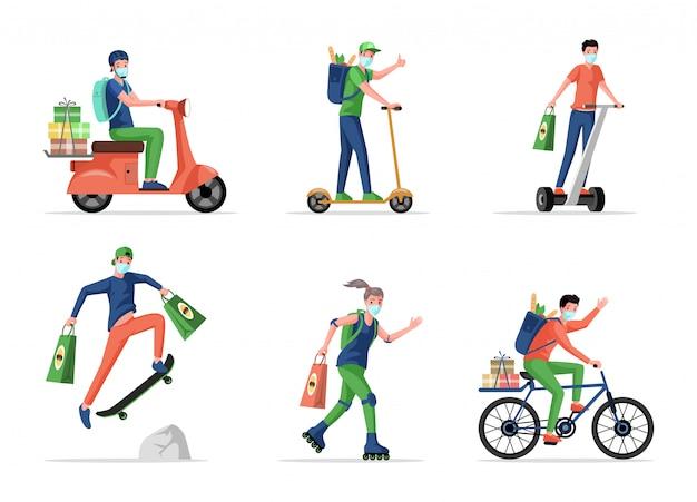 Les gens dans les masques médicaux livrent des aliments et des marchandises à partir de l'illustration de dessin animé de supermarché.