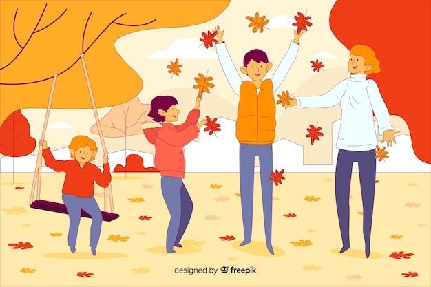 Les gens dans le parc en automne
