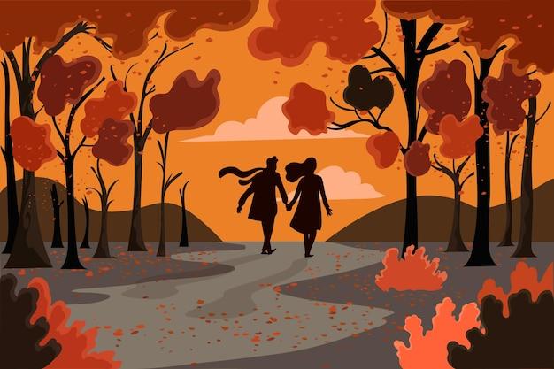 Gens dans le parc en automne