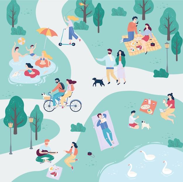 Les gens dans le parc public. promener un chien