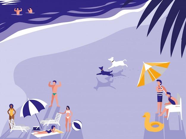 Gens dans le paysage marin de plage tropicale