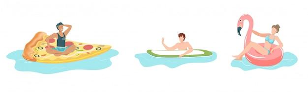Gens dans la piscine, homme et femme flottant sur des anneaux gonflables, matelas en forme de pizza isolé illustration.