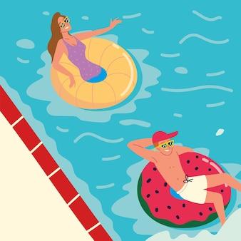 Les gens dans la piscine