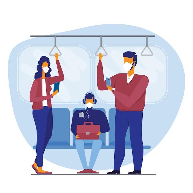 Les gens dans la rame de métro, bus tram transport public portant des masques médicaux pour se protéger du coronavirus, limitant le transport en commun pour prévenir la maladie du virus corona covid-19 propagation concept illustration