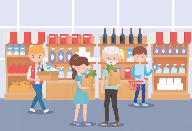 Les gens dans les rayons des supermarchés avec des achats de produits de propreté excédentaire