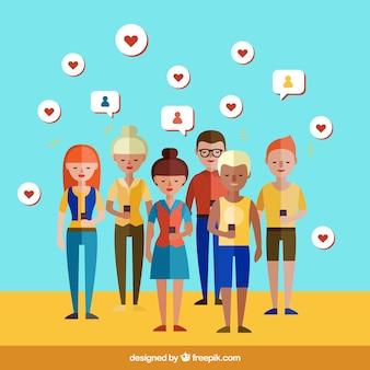 Les gens dans les réseaux sociaux