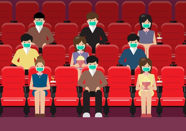 Les gens dans le style de vie du cinéma après une pandémie de coronavirus