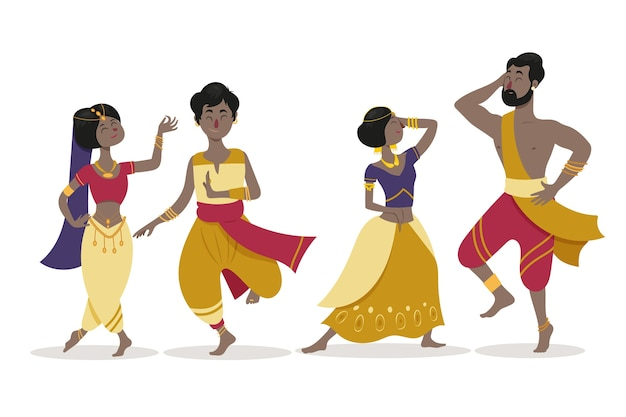 Gens dansant bollywood illustré