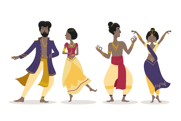 Gens, danse, bollywood, illustration