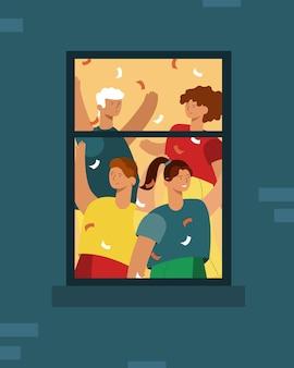 Les gens dansent à la maison dans la fenêtre, l'anniversaire ou la célébration du nouvel an.