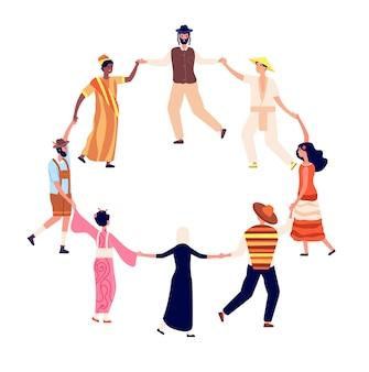 Les gens dansent en rond. les amis adultes entourent en danse.