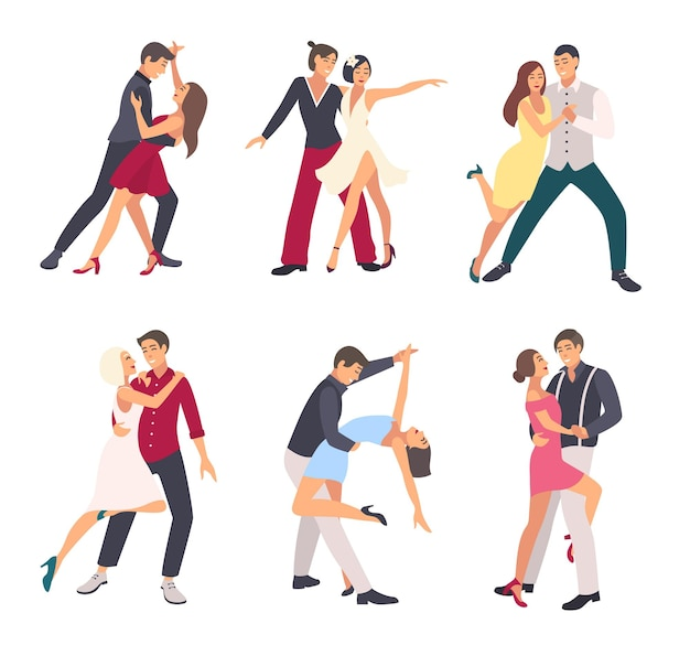 Les gens dansent la salsa. couples, homme et femme en danse, dans différentes postures. ensemble d'illustrations plates colorées.