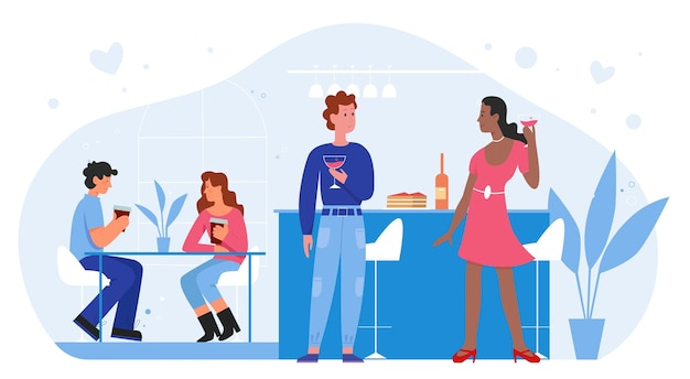 Les gens sur la date d'amour romantique dans l'illustration plate de bar.