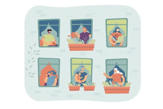 Des gens debout aux fenêtres de leur appartement, arrosant les plantes de la maison, parlant au téléphone, profitant des loisirs. vue extérieure de la façade du bâtiment